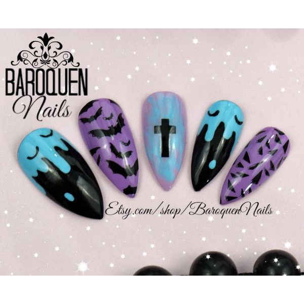 "Pastel Goth Drippy Bat Nails Kawaii Grunge Nail Art ""Dead Cute"" Made... ($32) ❤ liked on Polyvore featuring beauty products, nail care, nail treatments and gel nail care"