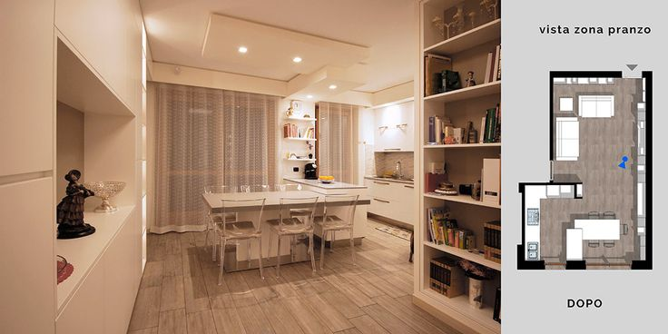 """Un tavolo che nella sua posizione quotidiana """"a riposo"""" crea un gioco di incastro con una penisola della cucina, un tavolo con appoggio centrale, un pò decentrato, tutto a sbalzo, allungabile, di color grigio chiaro."""