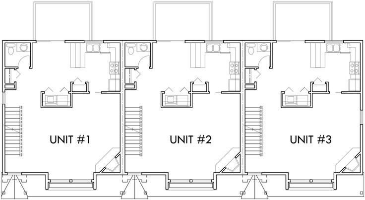 100 best Triplex and Fourplex House Plans images – Triplex Floor Plans With Garage
