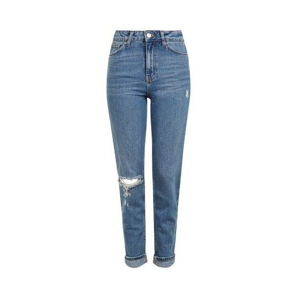 TopShop Moto Mid Blue Rip Mom Jeans (130 BAM) ❤ liked on Polyvore featuring jeans, pants, trousers, mid blue, blue jeans, distressed jeans, topshop jeans, tapered leg jeans and cuffed jeans