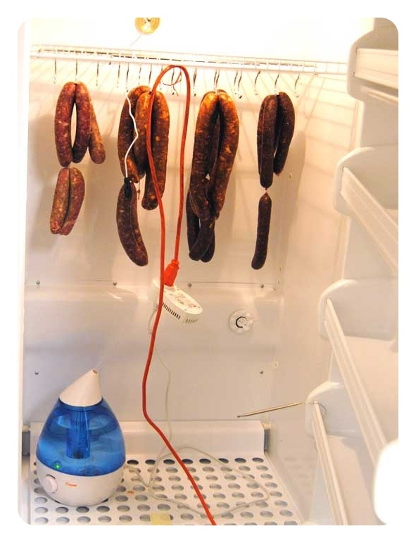 ... After A Couple Hours Of Grinding, Mixing, And Stuffing Yesterday, Our  Pepperone, Chorizo, U0026 Salami Are Hanging In Our Homemade Curing Chamber...  Just A ...
