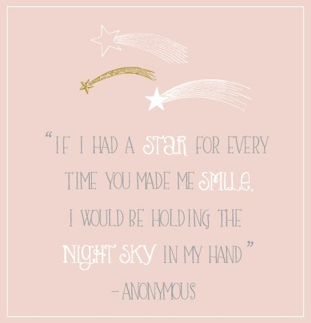 """If I had a star for every time you made me smile. I would be holding the night sky in my hand"" -anonymous"