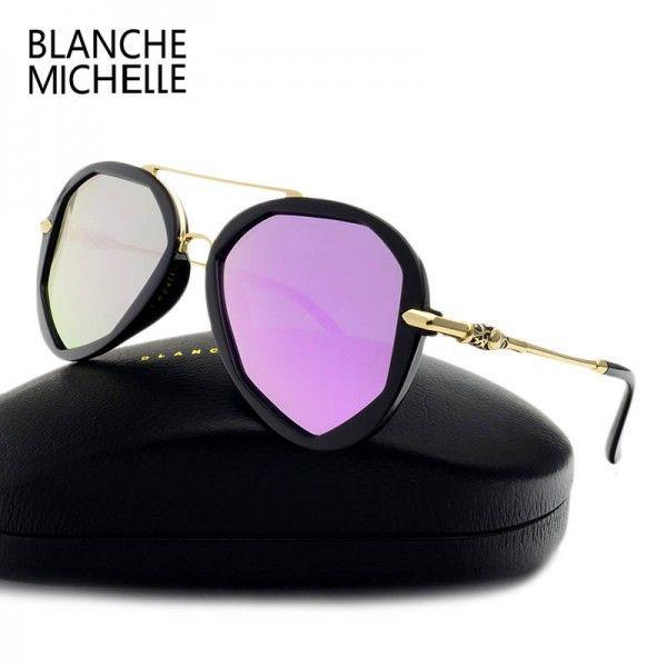 Blanche Michelle Fashion Sunglasses For Female Polarized Luxury Designer Polygon UV400 Eyewear For Ladies