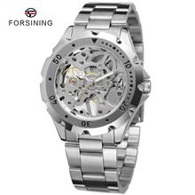2 Colors FORSINING Transparent Skeleton Mens Mechanical Watch Casual Men Stainless Steel Watches orologio uomo Relogio Masculino(China (Mainland))