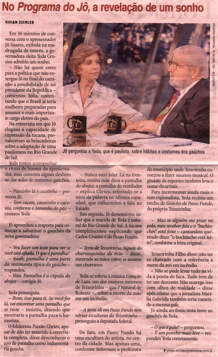 Brasil-Yeda Crusius-2006-Texto-No Programa do Jô, a revelação de um sonho