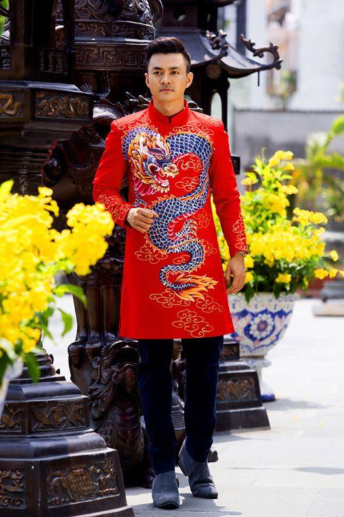Mẫu áo dài nam cách tân 2017 với thiết kế sáng tạo