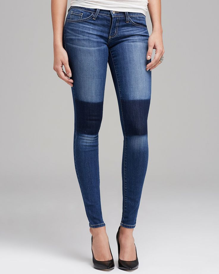 Flying Monkey Jeans - Washed Knee Patched Skinny in Medium Blue   Bloomingdale's