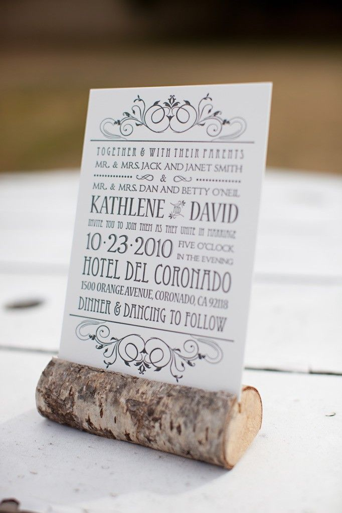 corks/logs to hold things up...Sample Letterpress Wedding Invitation and Reply Postcard. $5.00, via Etsy.