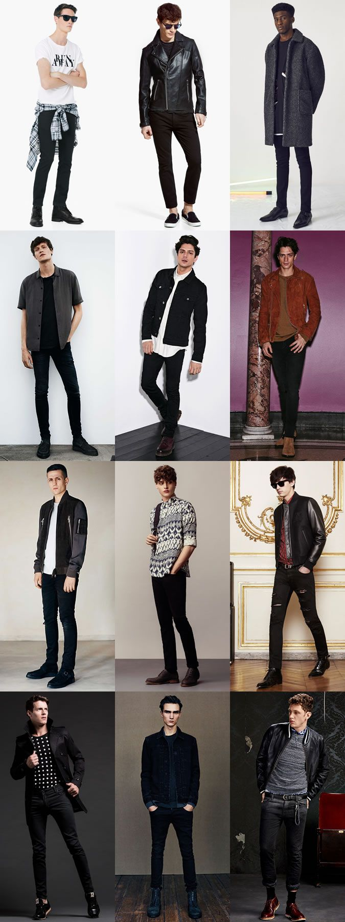 Men's Black Jeans Outfit Inspiration Arguably the key trend for 2015 (and 2014, for that matter), monochrome dressing offers the easiest way to pull off double denim, because there's no confusion about how to clash your colours or washes and what cut of jeans to go for: it's all about your black skinnies. The reprisal of the indie rocker and his sophisticated uniform – seen on the likes of Alex Turner and recently reformed The Strokes – has been rolled out onto the runways and into store