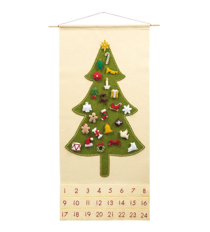 Felt Advent Calendar Pattern Traditional Christmas Tree ...