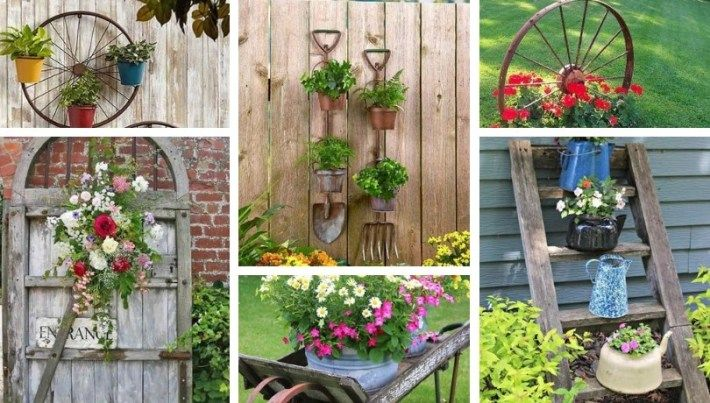 Diy Ideas For Vintage Garden Decoration With Old Things Gardening Design Diy Garden Decor Vintage Garden