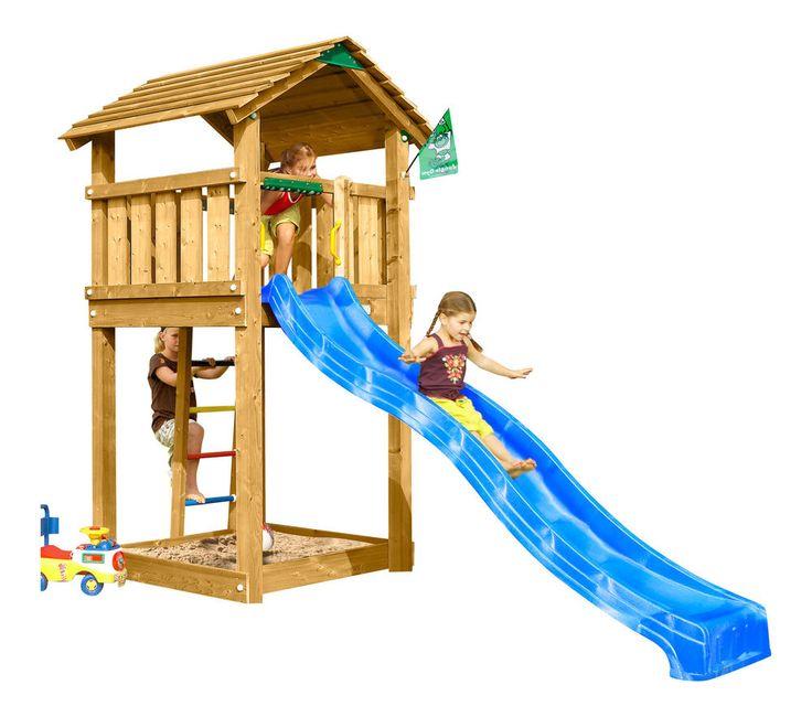 Perfect JUNGLE GYM Spielturm COTTAGE Kletterturm mit Rutsche Spielhaus Leiter Holzhaus