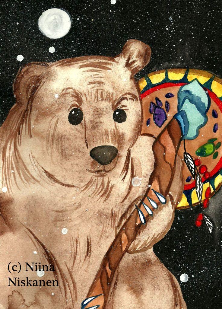 Original Painting Bear Shaman Animism Shamanism Mystical Art Bear God Animal God Mythology Siberian Finnish Native American Bear Spirit