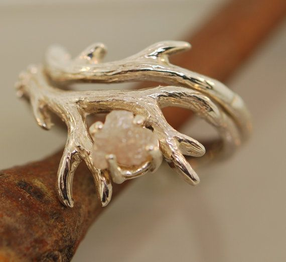 Antler Ring 2 set with rough diamondrough by TeriLeeJewelry