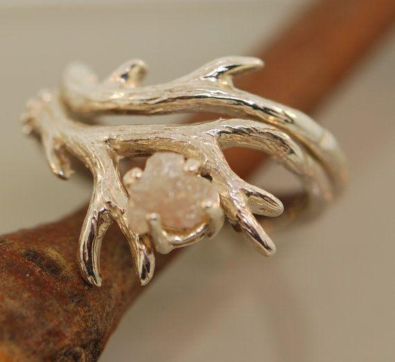 Antler Ring 2 insieme con diamante grezzo anello di diamanti