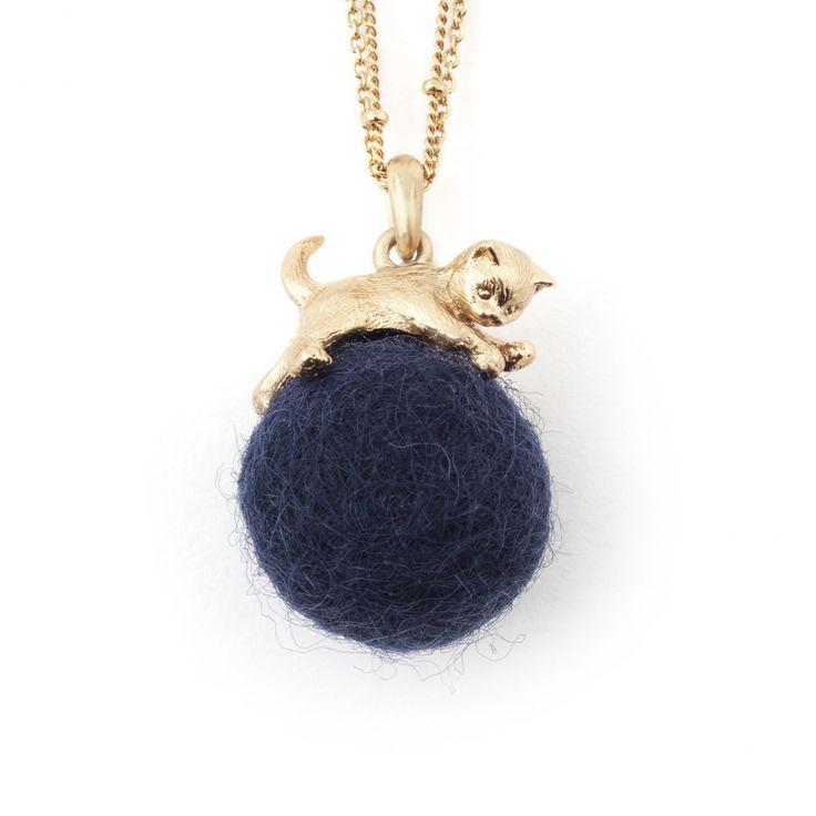 Kitten with Wool Ball Pendant (Navy) Gold