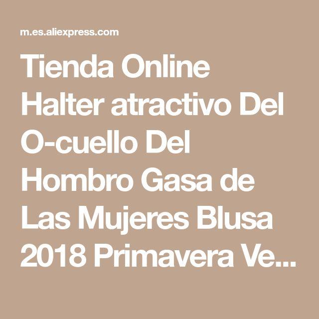 Tienda Online Halter atractivo Del O-cuello Del Hombro Gasa de Las Mujeres Blusa 2018 Primavera Verano Ocasional Del Partido Del Club de Manga Larga Blusas Tallas grandes Tops | Aliexpress móvil