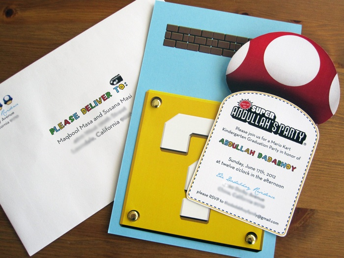 a4ed36b2fc4 Invitations I made for my son s Super Mario Mario Kart Kindergarten  graduation party!