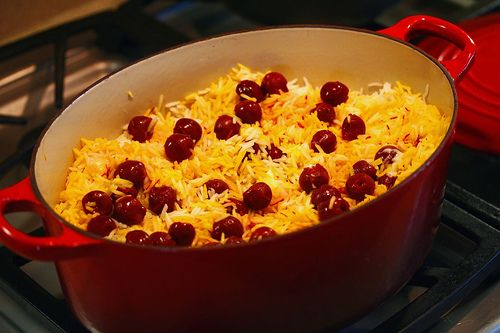 Albaloo Polow   Saffron rice with sour cherries  So very good  and it  39 s pretty  I think it  39 s best with chicken kabob   And this recipe is a keeper