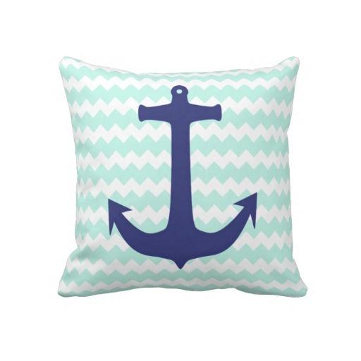Trendy Chic Mint Chevron Blue Anchor Pillow