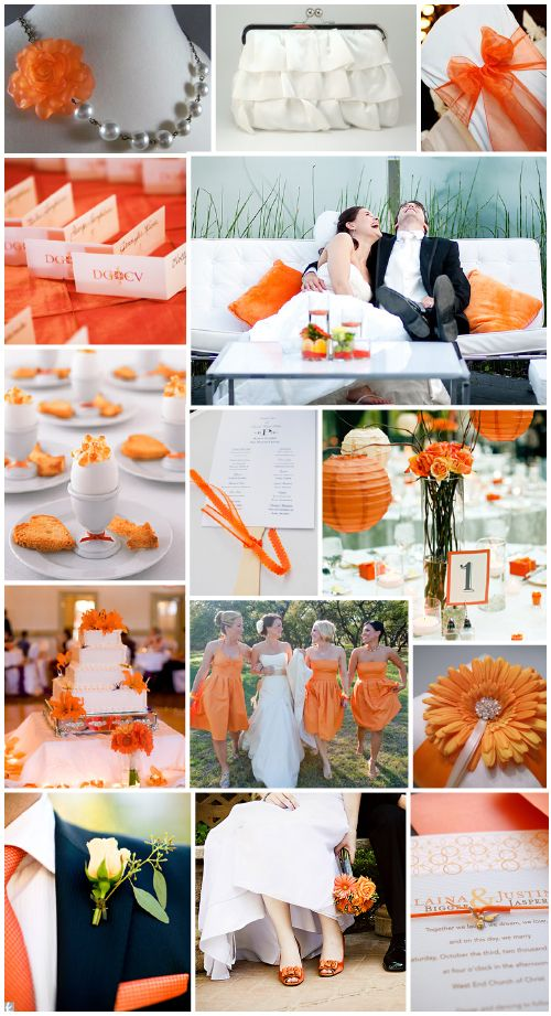 love love love the orange and grey wedding colors