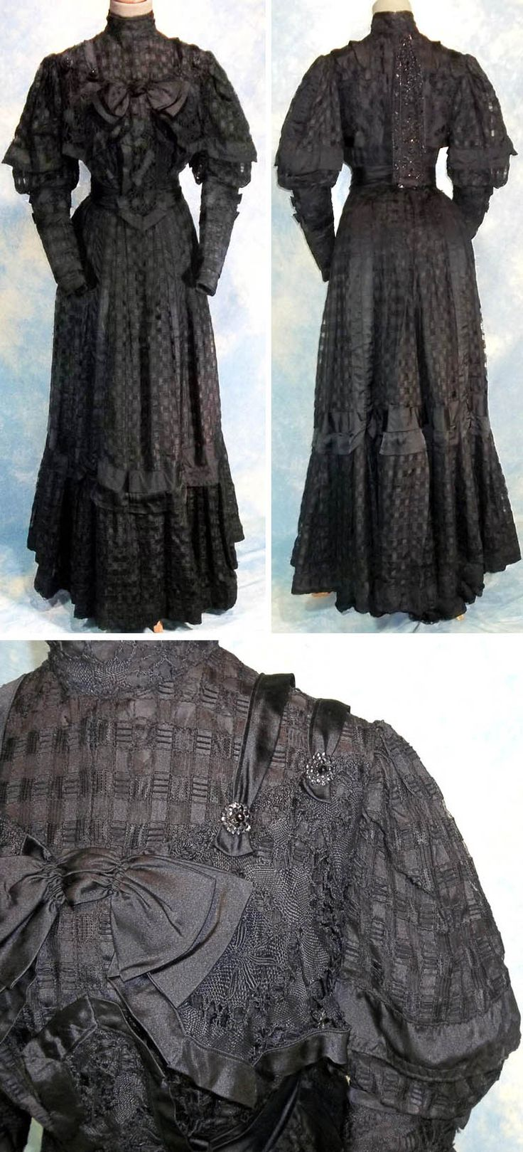 Late Victorian black lace mourning dress. Appears that originally it was a 2-piece dress that a previous owner has attached together to make a one-piece dress. Made from a check silk or silk blend lace over a silk blend taffeta underdress with jet bead buttons for decoration in front and a small loose panel of jet on netting down the back covering the hook line. It closes with hooks in back and there are nine internal bones in the bodice for fit. The Golden Hanger/Ruby Lane