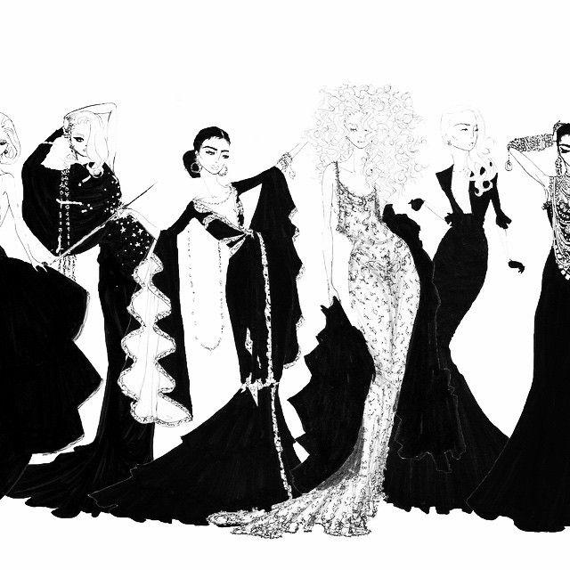 Wearing Black #wearingblack #fashionillustration #blackdress #blacktie #blacklace #style #glamour #goldenage @carineroitfeld