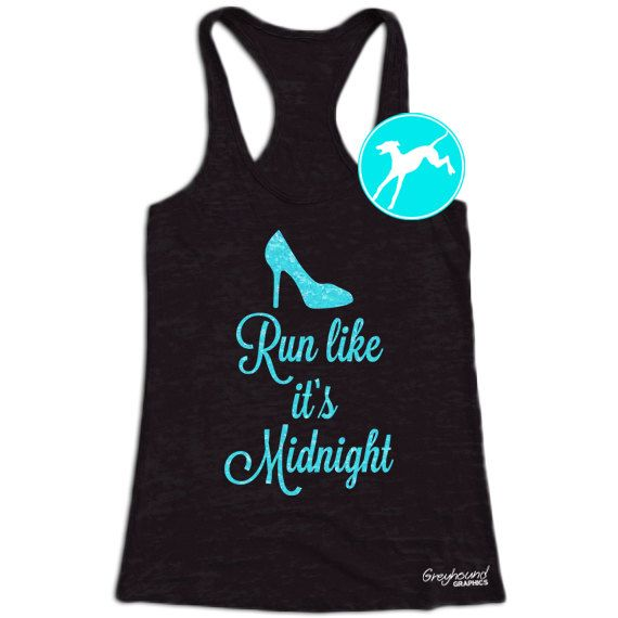 wishing for ... Burnout White Shirt .... Blue Glitter Text ... Size Medium  .... Workout Tank ... Run like it's midnight Cinderella by BranchBirds
