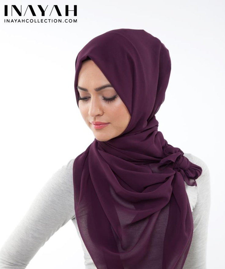 A simple wrap with a side knot for a classic look!  HIJAB: Plum Soft Georgette Hijab from www.inayahcollect...