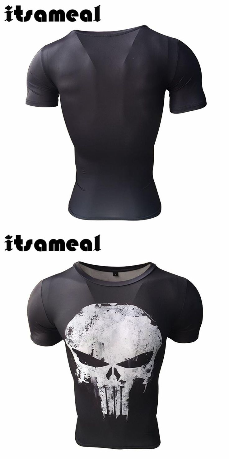 Itsameal Punisher Costumes Compression Men's Short Sleeve T-Shirts Punisher 3D Printed Fitness Raglan Homme Slim Fashion Tops