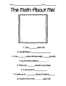 The Math About Me! Fun activity to do at the beginning of the school year.
