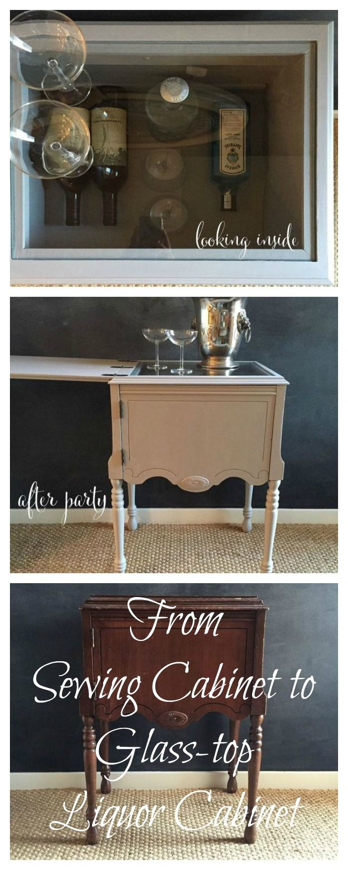 Hometalk easy cabinet door projects - Sewing Machine Cabinet To Liquor Cabinet With Glass Top For Serving