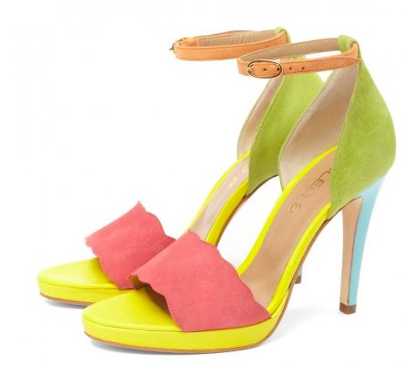 CLEO B 'Pepper' multi-coloured high-heeled platform sandal. #sea #monsters #summer #shoe #collection #beatles #inspiration #suede #heels #green #yellow #pink #blue #orange #fashion #designer #london #pepper