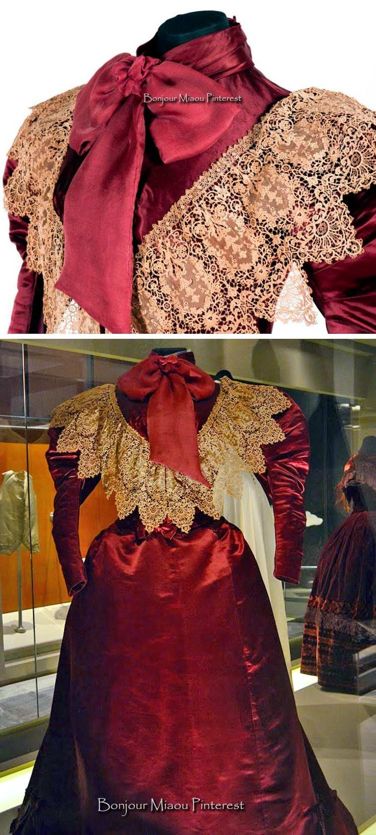 Dress, Mon Kerewa Soeurs, France, ca. 1890. Handmade in silk satin, lace, and chiffon. Photos: Omar Dumaine (top); Héctor Montaño, INAH (bottom). From exhibit Hilos de Historia by the Museum of Mexican History via Castillo Chapultepec Twitter and the Mercado Sobre Ruedas blog.