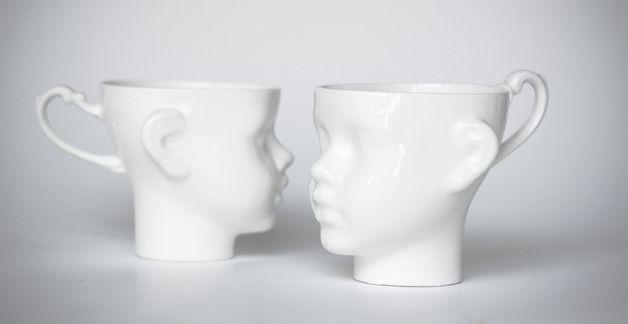 "Kubeczki ""Tête à tête"" białe - en_design - Kubki i filiżanki"