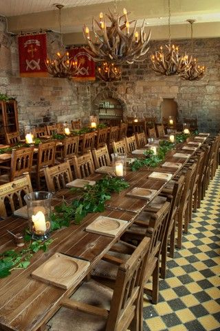 Blackfriars Restaurant Newcastle.  May be possible venue or just get some ideas from this.  They do Medieval banquets anyway so would be ideal.  Quite difficult to find a wedding venue that doesn't do posh food.