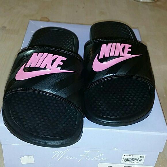 Nike sandals Black  Nike sandal, pink Nike sign Nike Shoes Sandals