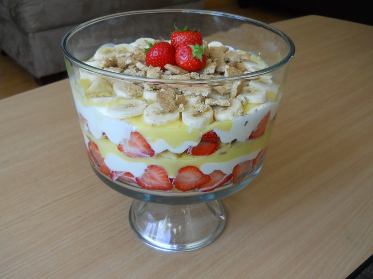 strawberry banana waffle trifle- Start by covering the bottom of the ...