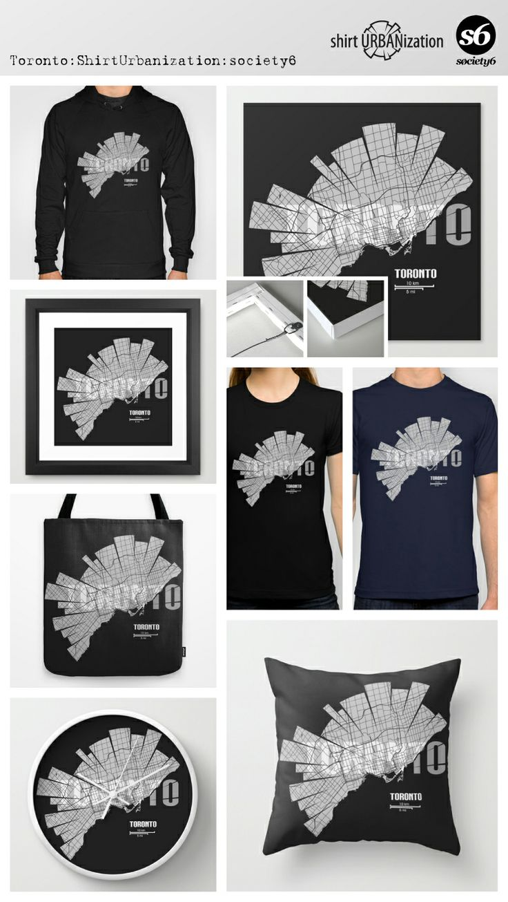 Stylistic city map of Toronto in black and white on dark background. Available at Society6 on a variety of products. http://society6.com/ShirtUrbanization/Toronto-Map-Xki_Print