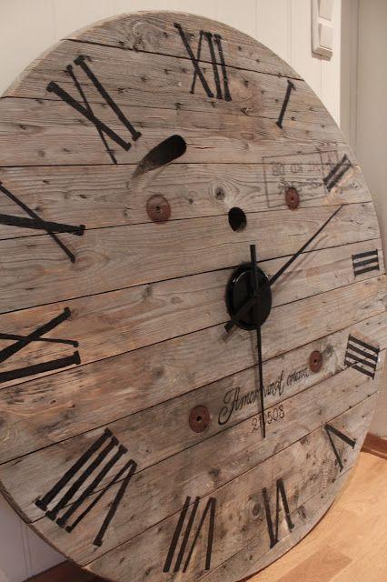 Clock Cabel Drum DIY Wood Pallet Mirror Pallet Craft
