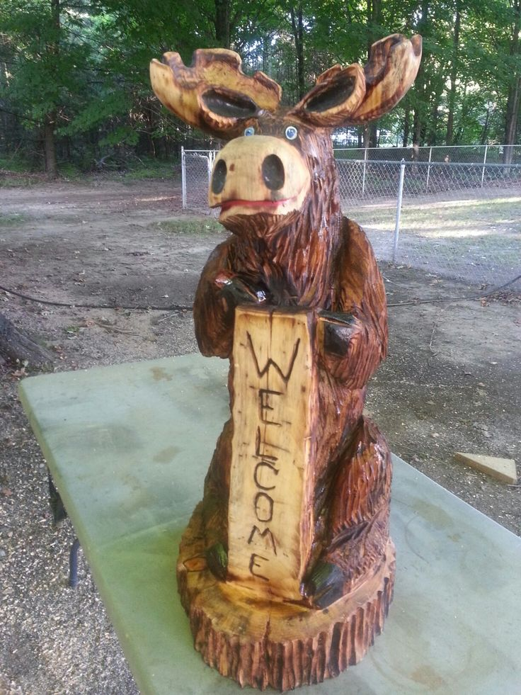 Moose carving ideas pinterest chainsaw