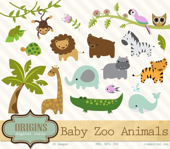 Check out Baby Zoo Animals Clipart by Origins Digital Curio on Creative Market