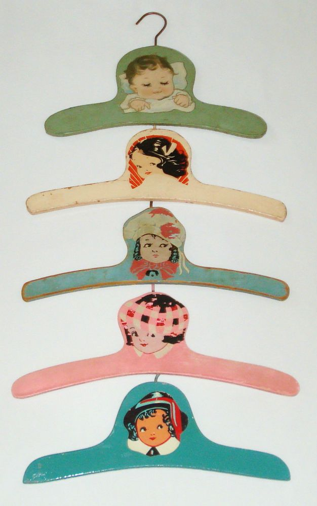 LOT OF 5 CUTE VINTAGE BABY INFANT CHILDREN'S WOOD WOODEN CLOTHES HANGERS