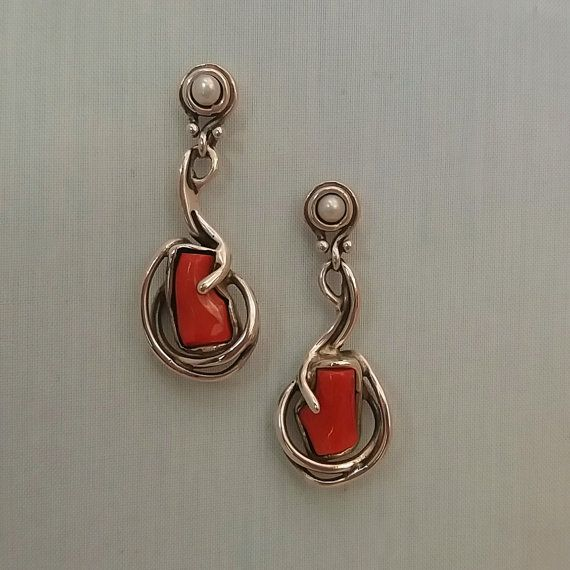 One of a kind earrings with Mediterranean red coral. by kreitto