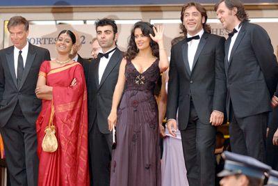Salma Hayek, Javier Bardem, Emir Kusturica, Fatih Akin, Nandita Das, and Benoît Jacquot at an event for Lemming (2005)