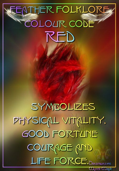 Red Feathers - Symbolizes Physical vitality, good fortune, courage and life force.(connected to the root chakra).  balancedwomensblog.com
