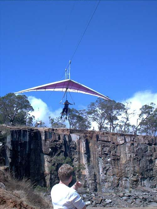 Cable Hang Gliding at Launceston's Trevallyn Dam
