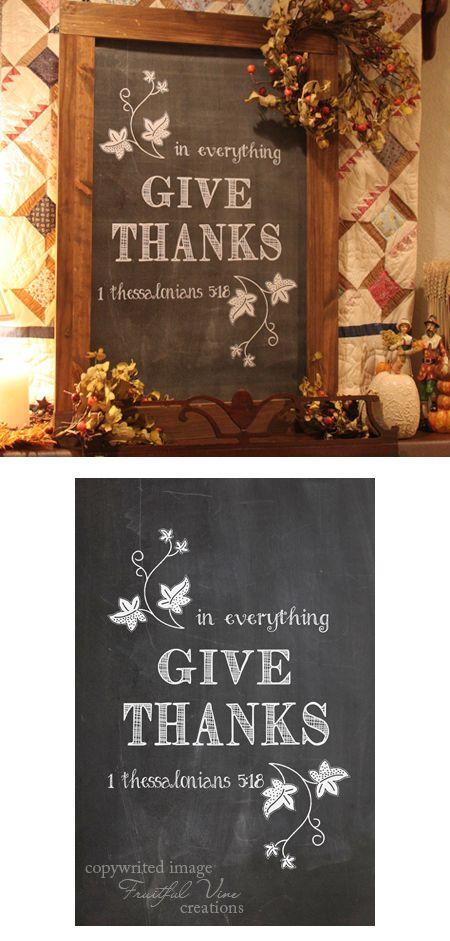 give thanks chalkboard print image