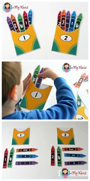Back to School Preschool Centers - FREE Number Sorting Activity with crayons and packets