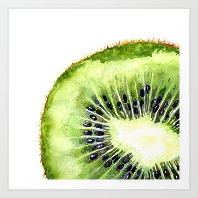 Kiwi Slice Art Print by Cindy Lou Bailey  - $18.00.  A watercolor painting of a juicy, green kiwi slice.